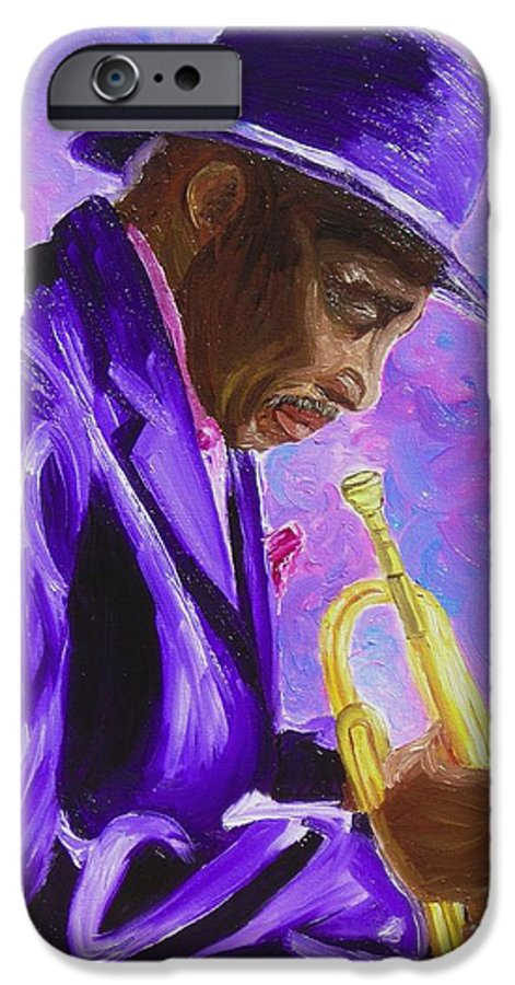 Street Musician Trumpet Player IPhone 6 Case featuring the painting From The Soul by Michael Lee
