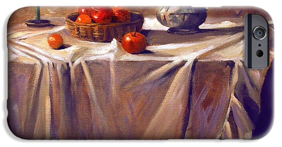 Still Life IPhone 6 Case featuring the painting Fruit By Candle Light by Nancy Griswold