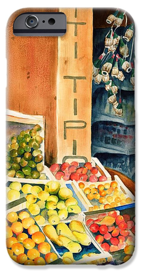 Fruit Shop Window IPhone 6 Case featuring the painting Fruit Shop In San Gimignano by Judy Swerlick
