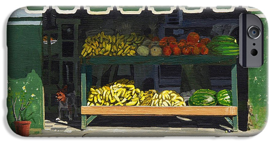 Market In Puerto Vallarta Mexico. Dog Added. IPhone 6 Case featuring the painting Frutas Y by Michael Ward