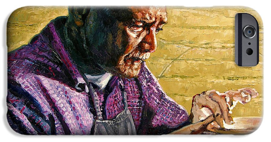 Black Potter IPhone 6 Case featuring the painting Full Circle by John Lautermilch
