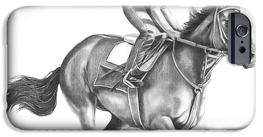 Horse IPhone 6 Case featuring the drawing Full Gallop by Murphy Elliott