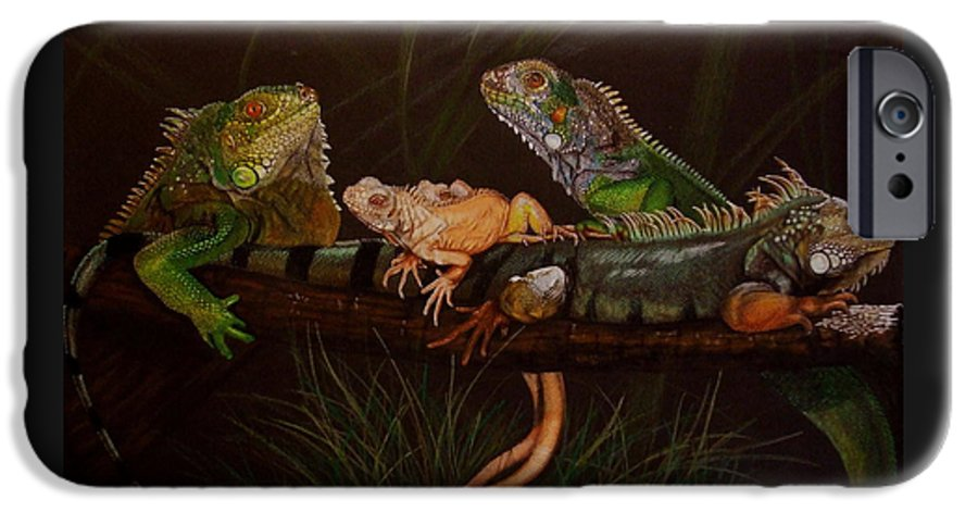 Iguana IPhone 6 Case featuring the drawing Full House by Barbara Keith