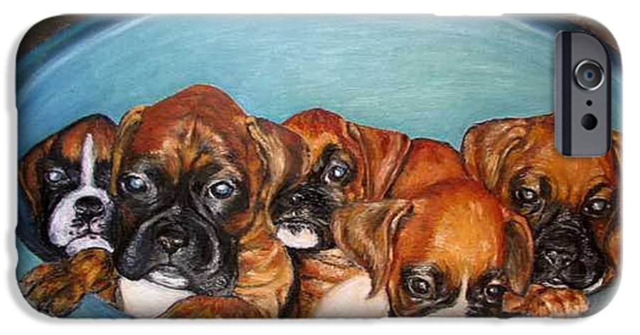 Oil IPhone 6 Case featuring the painting Funny Puppies Orginal Oil Painting by Natalja Picugina