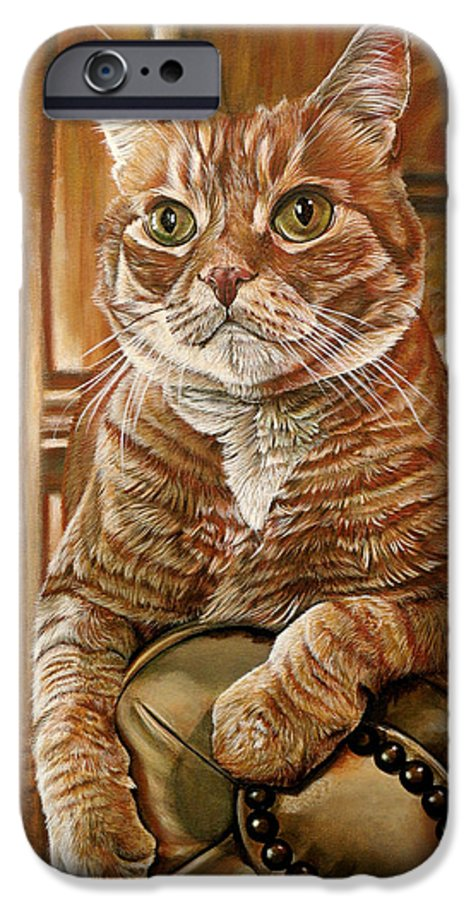 Cat IPhone 6 Case featuring the painting Furby by Cara Bevan