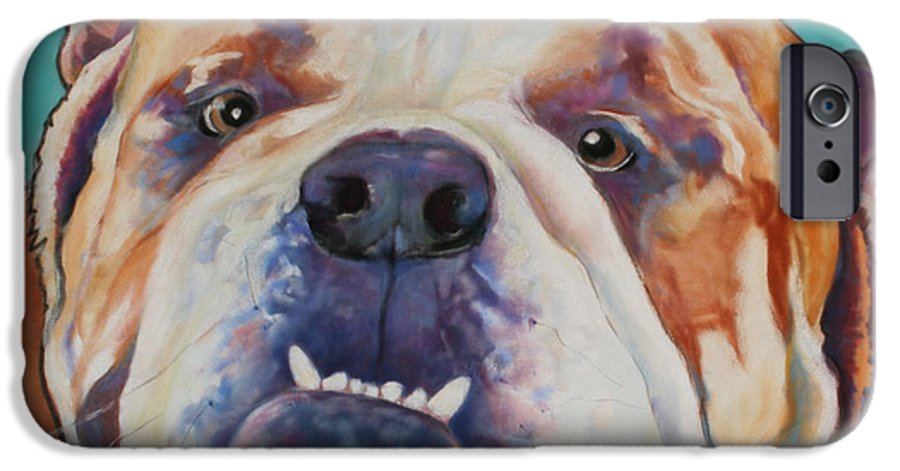 Pat Saunders-white Pet Portraits IPhone 6 Case featuring the painting Game Face  by Pat Saunders-White