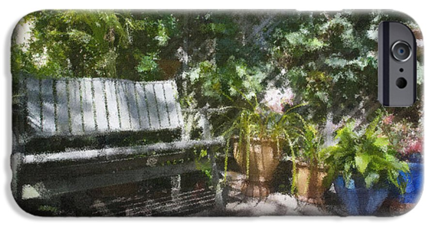 Garden Bench Flowers Impressionism IPhone 6 Case featuring the photograph Garden Bench by Avalon Fine Art Photography