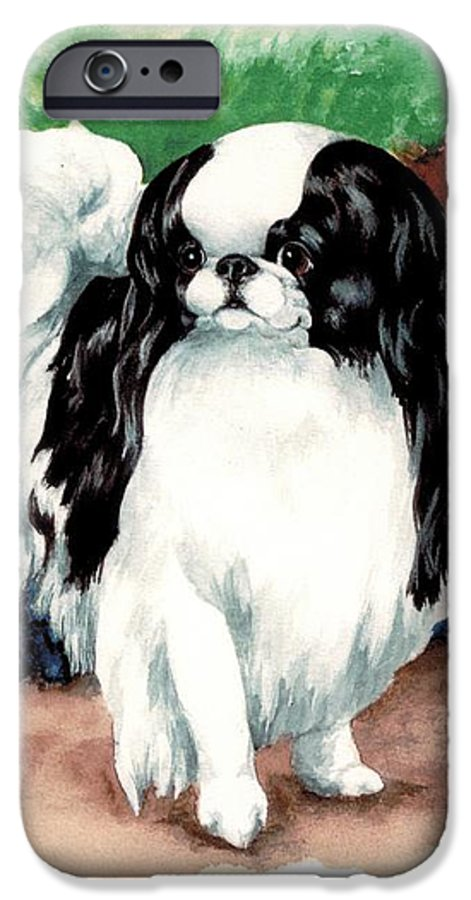 Japanese Chin IPhone 6 Case featuring the painting Garden Chin by Kathleen Sepulveda