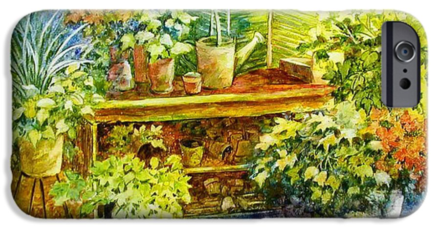 Greenhouse;plants;flowers;gardener;workbench;sprinkling Can;contemporary IPhone 6 Case featuring the painting Gardener's Joy by Lois Mountz