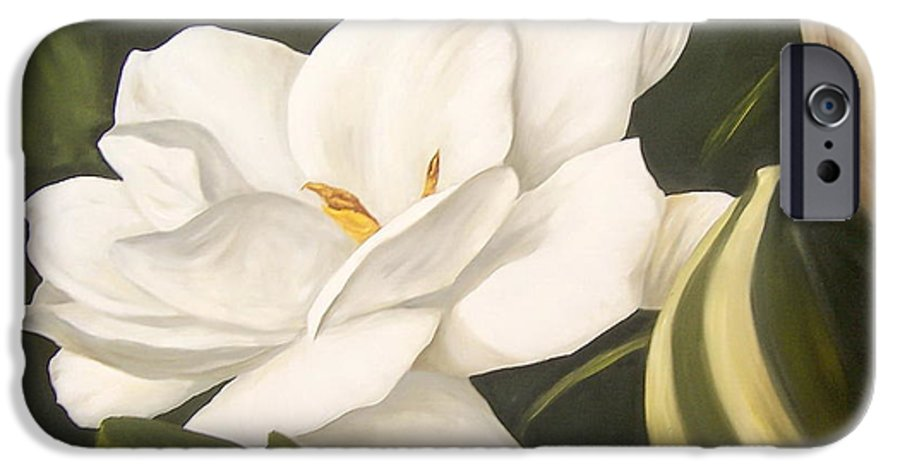 Gardenia Flower IPhone 6 Case featuring the painting Gardenia by Natalia Tejera