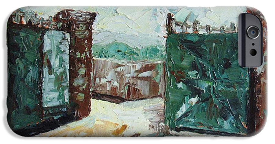 Gate Oil Canvas IPhone 6 Case featuring the painting Gate2 by Seon-Jeong Kim