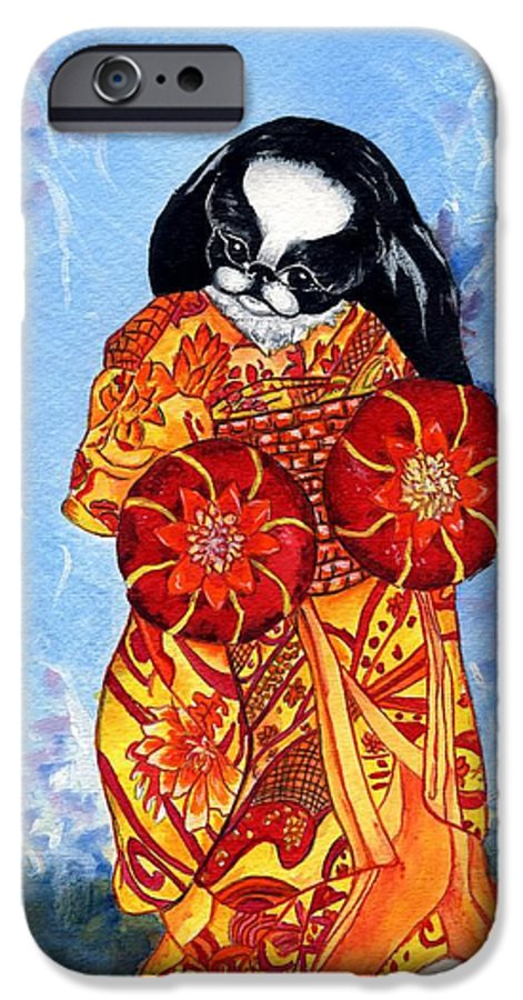 Japanese Chin IPhone 6 Case featuring the painting Geisha Chin by Kathleen Sepulveda
