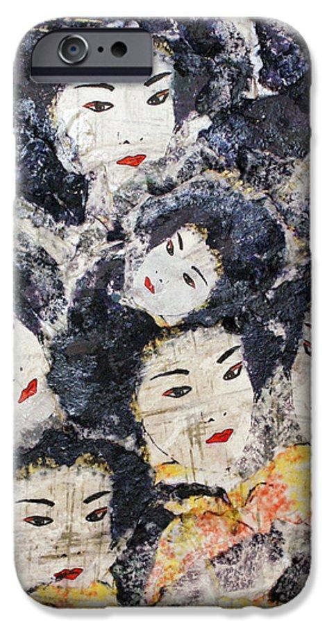Geisha IPhone 6 Case featuring the mixed media Geisha by Shelley Jones