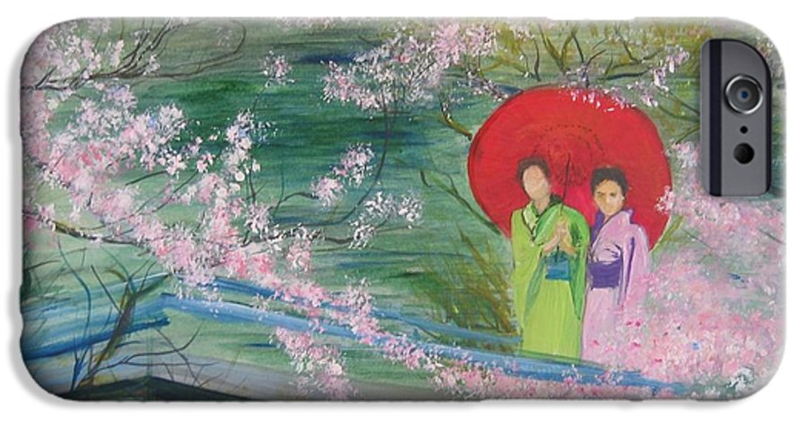 Landscape IPhone 6 Case featuring the painting Geishas And Cherry Blossom by Lizzy Forrester