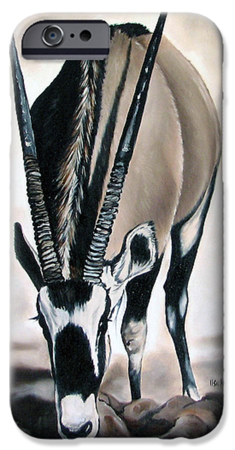 Wildlife IPhone 6 Case featuring the painting Gemsbok - Thirst by Ilse Kleyn