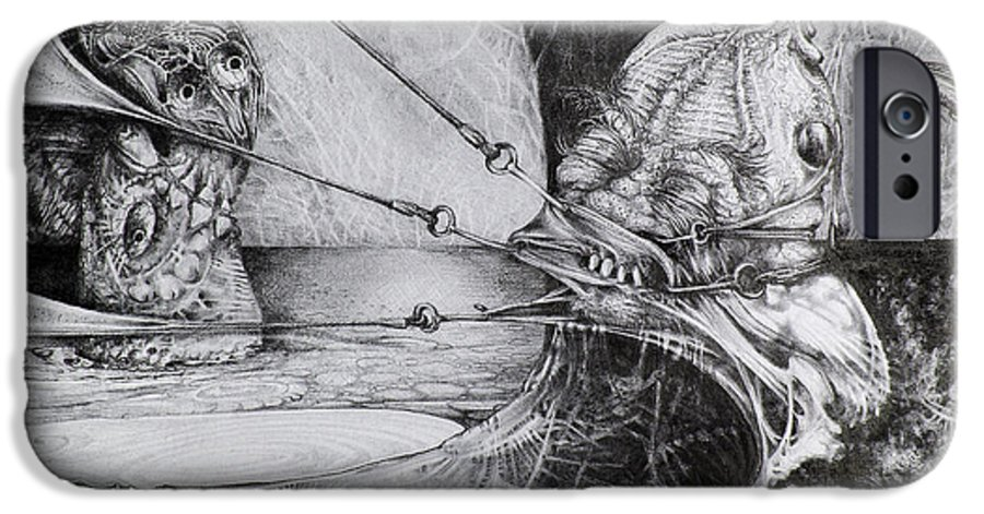 Surrealism IPhone 6 Case featuring the drawing General Peckerwood In Purgatory by Otto Rapp