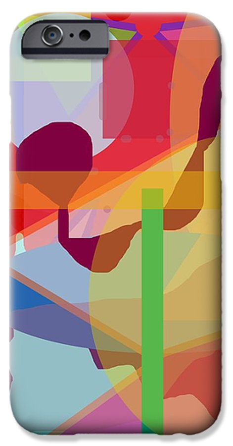 Abstract IPhone 6 Case featuring the painting Geo Frenzy by Pharris Art