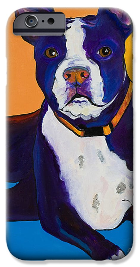 Boston Terrier IPhone 6 Case featuring the painting Georgie by Pat Saunders-White