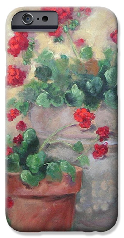 Geraniums IPhone 6 Case featuring the painting Geraniums by Ginger Concepcion