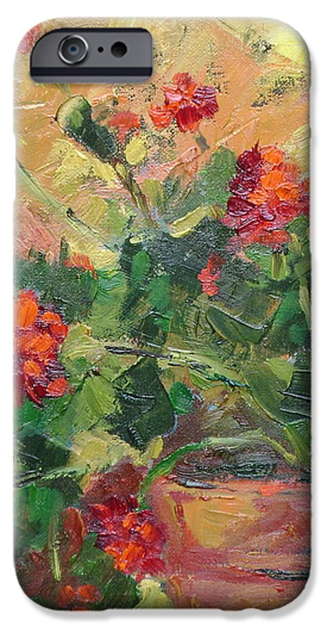 Geraniums IPhone 6 Case featuring the painting Geraniums II by Ginger Concepcion