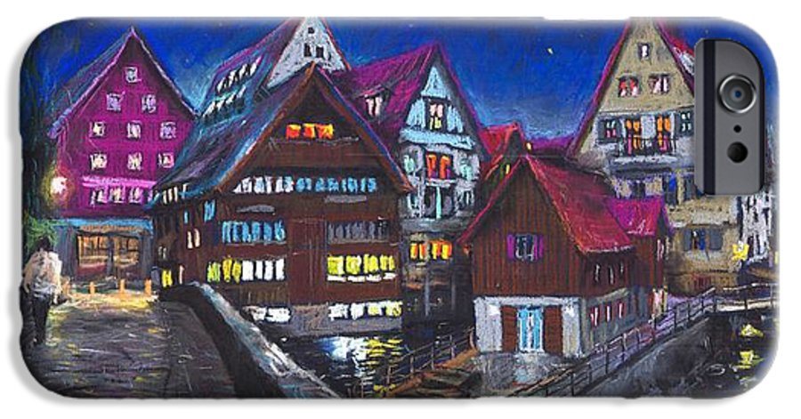 Pastel IPhone 6 Case featuring the painting Germany Ulm Fischer Viertel by Yuriy Shevchuk