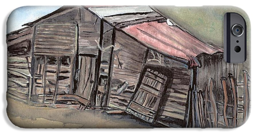 Barn IPhone 6 Case featuring the painting Gila New Mexico Cattle Barn by Margaret Fortunato