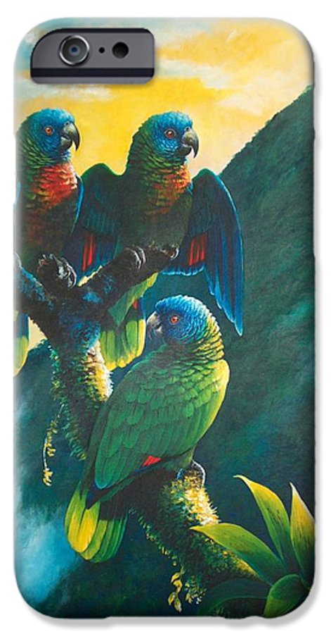 Chris Cox IPhone 6 Case featuring the painting Gimie Dawn 1 - St. Lucia Parrots by Christopher Cox