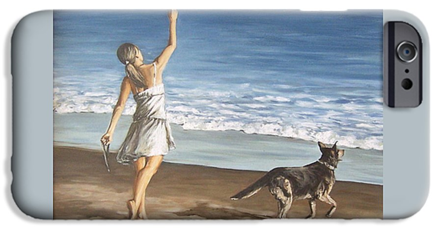Portrait Girl Beach Dog Seascape Sea Children Figure Figurative IPhone 6 Case featuring the painting Girl And Dog by Natalia Tejera