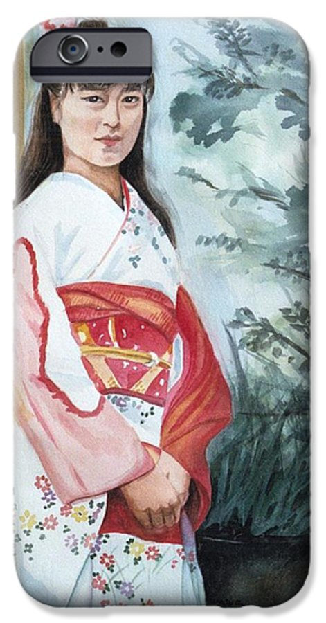 Japanese Girl In Kimono IPhone 6 Case featuring the painting Girl In Kimono by Judy Swerlick