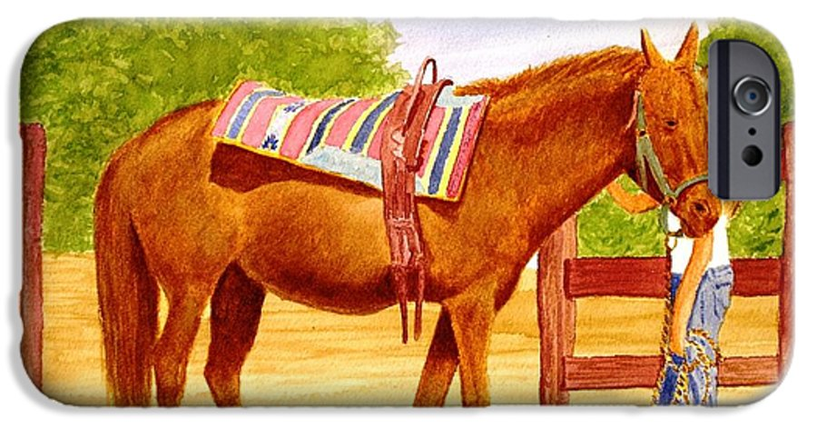 Equine IPhone 6 Case featuring the painting Girl Talk by Stacy C Bottoms