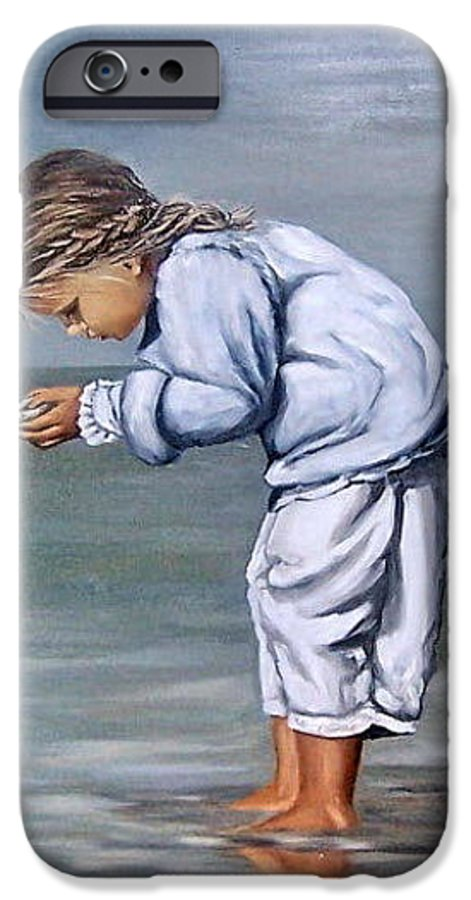 Kid Girl Seascape Sea Children Reflection Water Sea Shell Figurative IPhone 6 Case featuring the painting Girl With Shell by Natalia Tejera