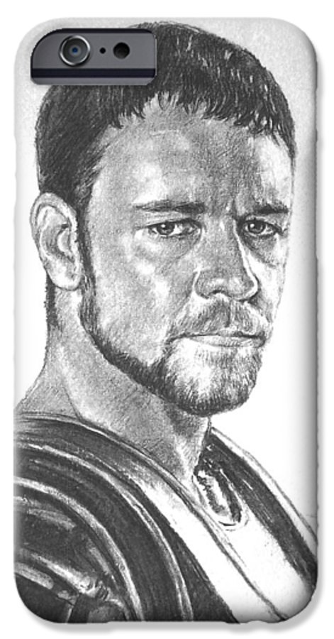 Portraits IPhone 6 Case featuring the drawing Gladiator by Iliyan Bozhanov