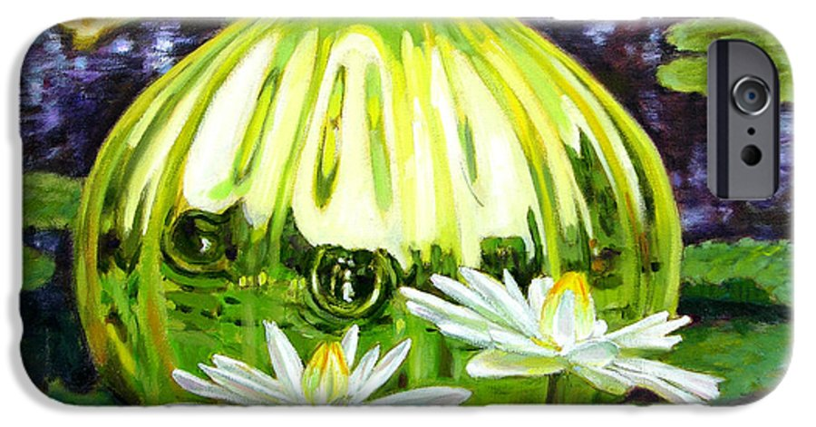 Water Lilies IPhone 6 Case featuring the painting Glass Among The Lilies by John Lautermilch