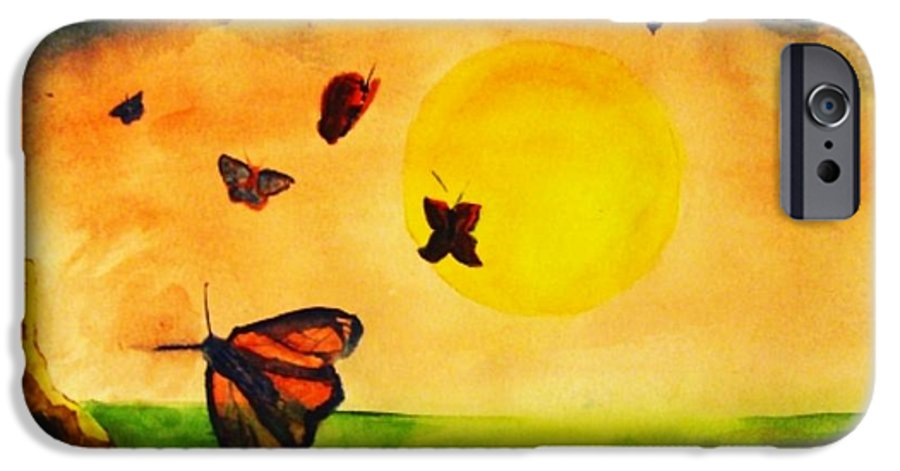 Gnome IPhone 6 Case featuring the painting Gnome And Seven Butterflies by Andrew Gillette