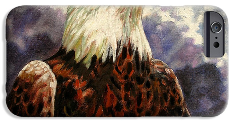 American Bald Eagle IPhone 6 Case featuring the painting God Bless America by John Lautermilch