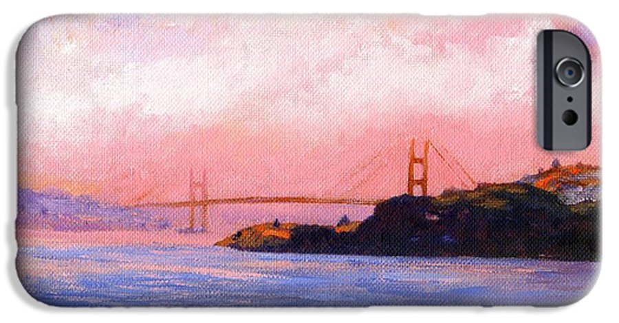Landscape IPhone 6 Case featuring the painting Golden Gate Bridge by Frank Wilson