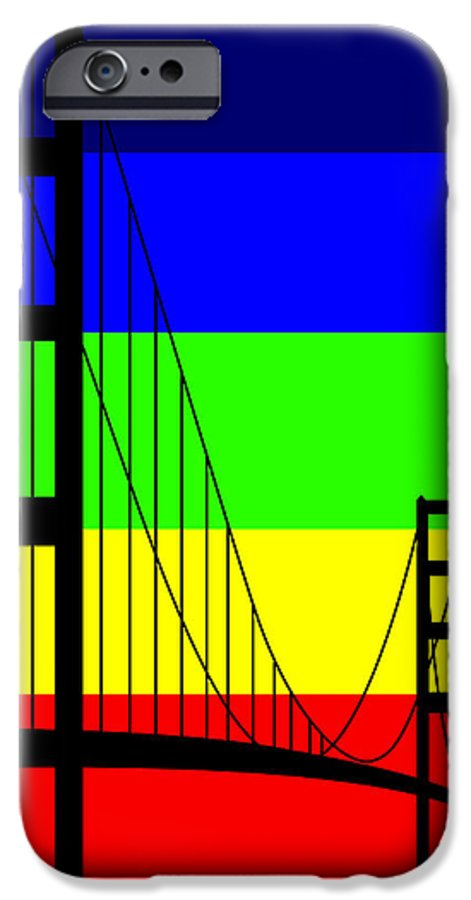 Golden Gate IPhone 6 Case featuring the digital art Golden Gay by Asbjorn Lonvig