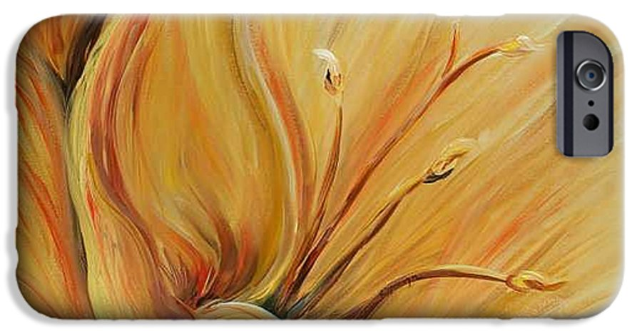 Gold IPhone 6 Case featuring the painting Golden Glow by Nadine Rippelmeyer