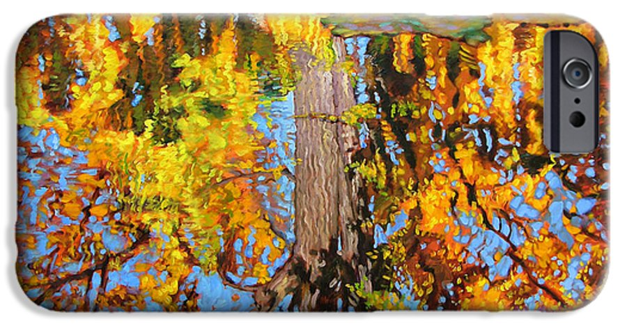 Landscape IPhone 6 Case featuring the painting Golden Reflections On Lily Pond by John Lautermilch