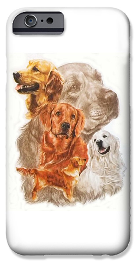 Retriever IPhone 6 Case featuring the mixed media Golden Retriever W/ghost by Barbara Keith