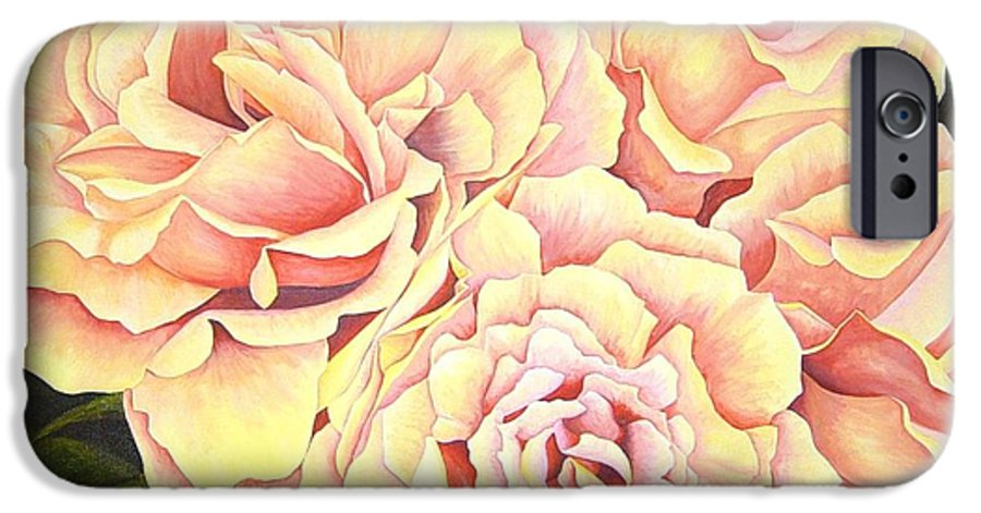 Roses IPhone 6 Case featuring the painting Golden Roses by Rowena Finn