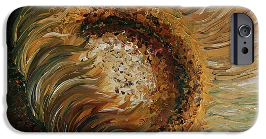 Sunflower IPhone 6 Case featuring the painting Golden Sunflower by Nadine Rippelmeyer