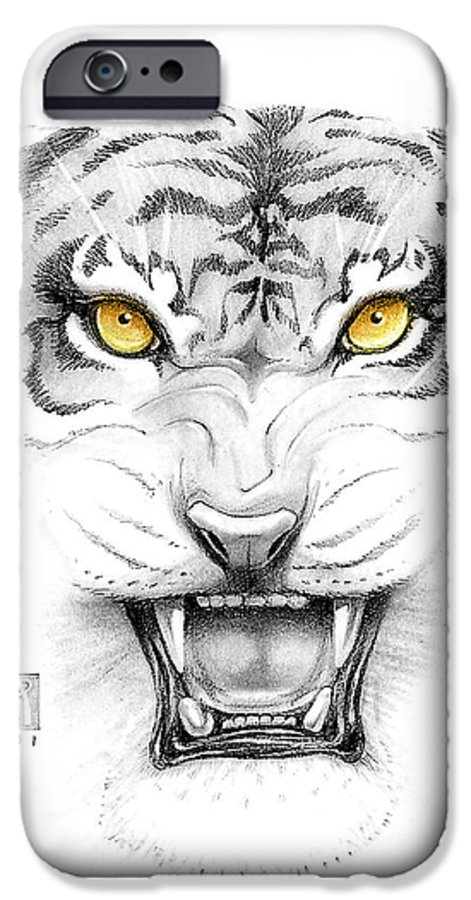 Amber IPhone 6 Case featuring the digital art Golden Tiger Eyes by Melissa A Benson