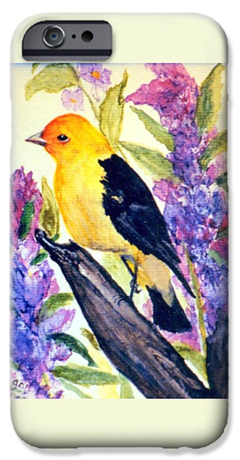 Birds IPhone 6 Case featuring the painting Goldfinch by Gail Kirtz