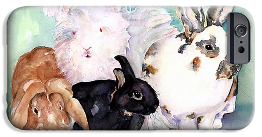 Animal Artwork IPhone 6 Case featuring the painting Good Hare Day by Pat Saunders-White