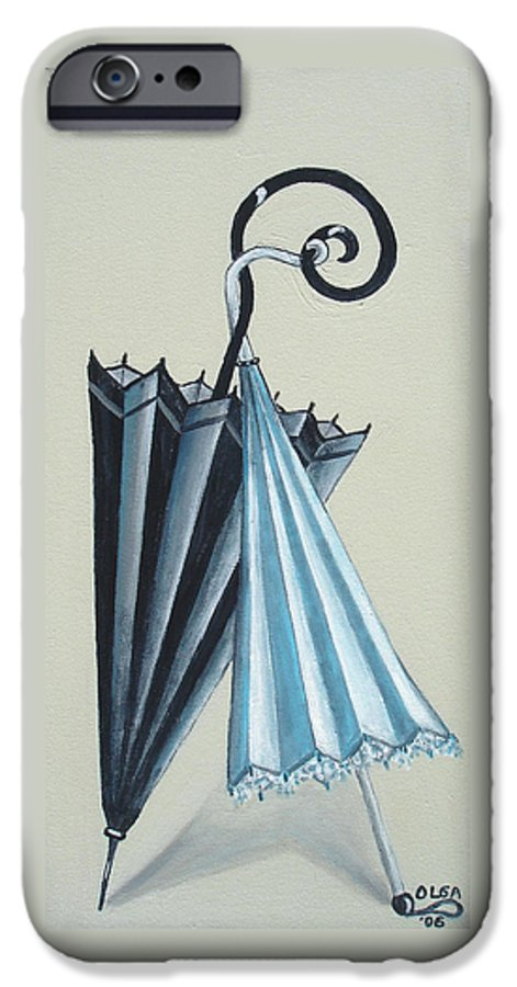 Umbrellas IPhone 6 Case featuring the painting Goog Morning by Olga Alexeeva