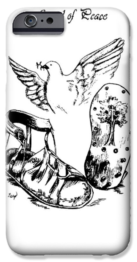 Armor IPhone 6 Case featuring the drawing Gospel Of Peace by Maryn Crawford