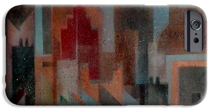 Abstract IPhone 6 Case featuring the painting Gothem City by Anita Burgermeister