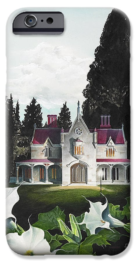 Fantasy IPhone 6 Case featuring the painting Gothic Country House Detail From Night Bridge by Melissa A Benson