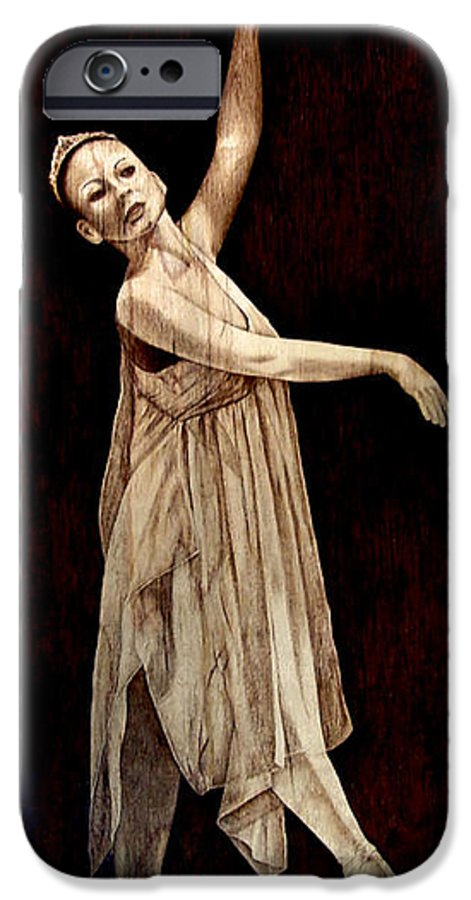 Pyrography; Woodburning; Ballerina; Light; Portrait; Shoe; Stage; Dress; Crown; Tiara; Dance; IPhone 6 Case featuring the pyrography Grace Touching Light by Jo Schwartz